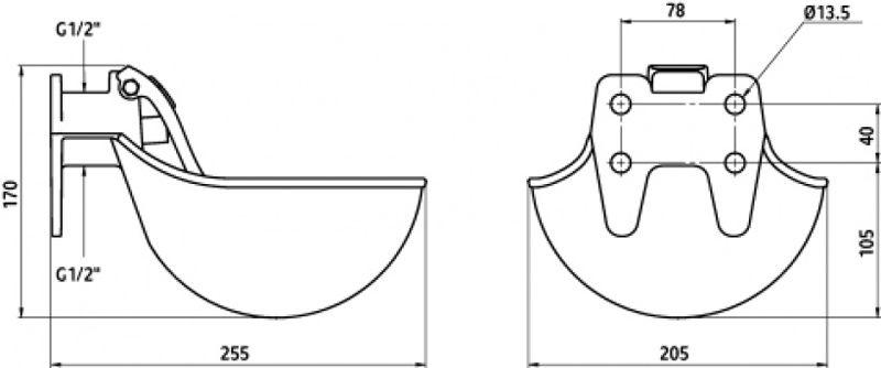 Схема чашечной поилки
