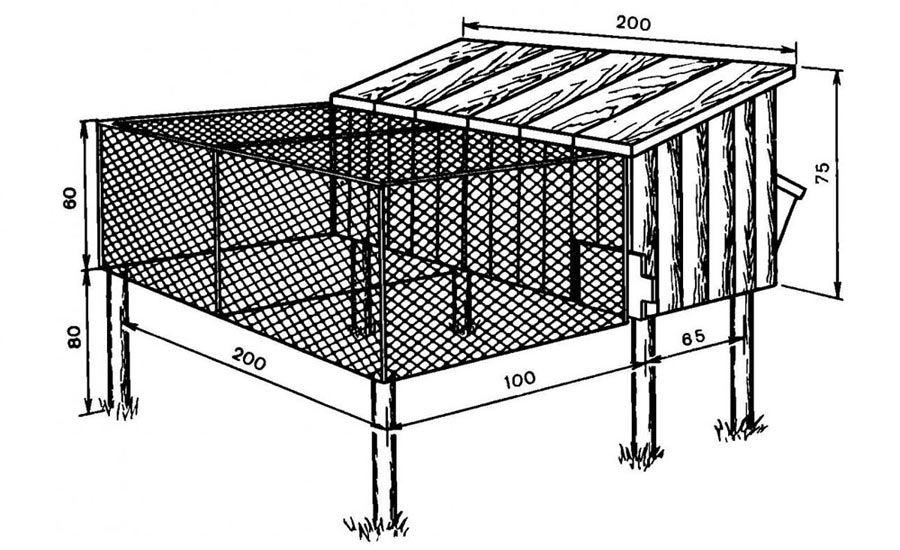 Вариант чертежа клетки для кролика четвертый