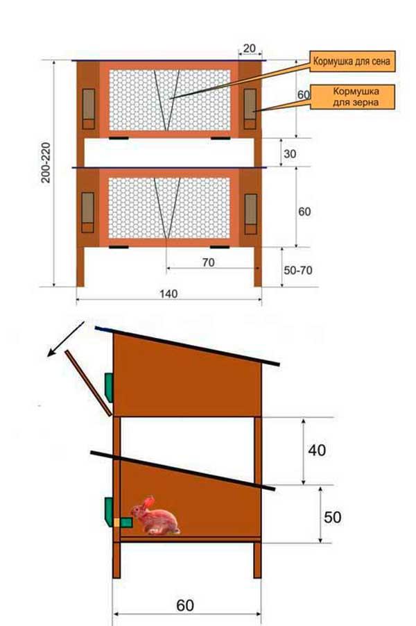 Размеры и чертежи маточника (маточного домика) для кроликов своими руками