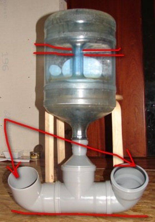 Два варианта изготовления своими руками кормушки для кур из пластиковых труб