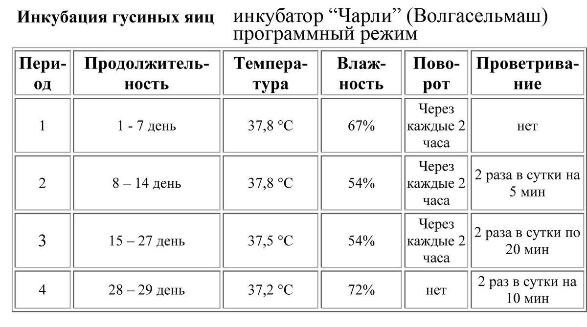 Температура и влажность в инкубаторе для куриных и гусиных яиц