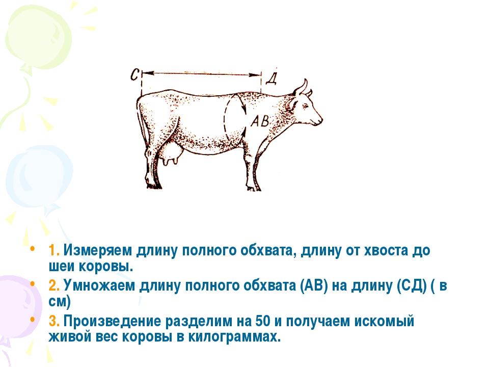 Вес быка таблица по обхвату