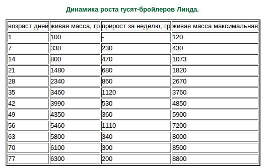 Вес бройлеров по дням и месяцам: таблица набора